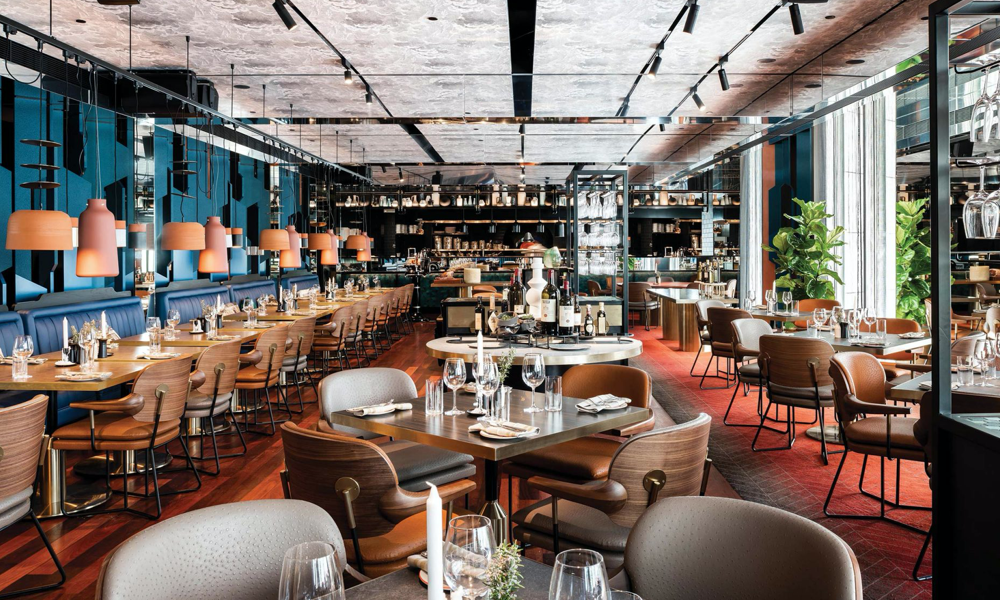 Santini-Grill QT Hotel- Perth Australia tables as part of hospitality design services