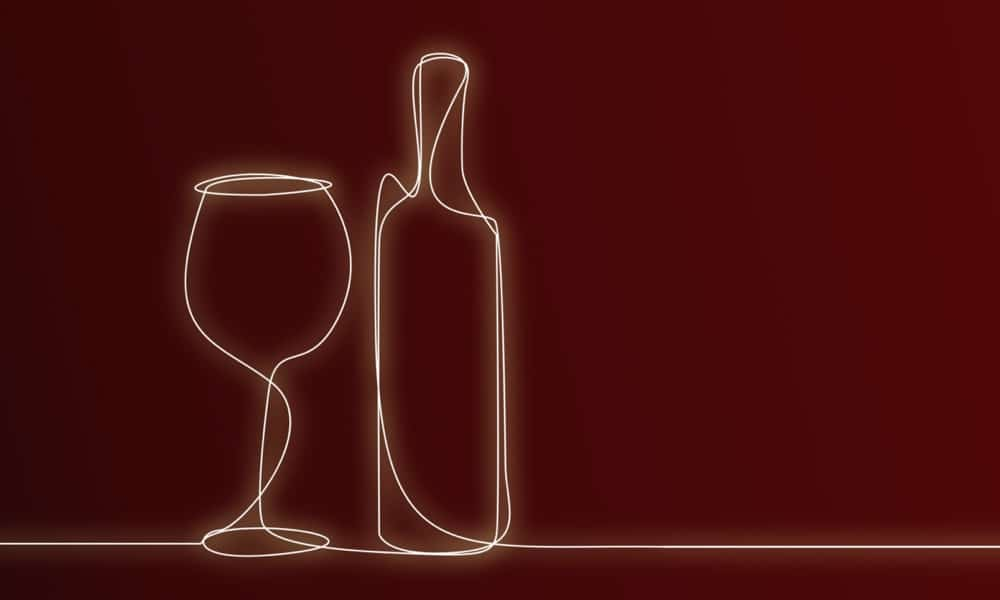 illustration of Wine bottle and glass illustration for menu creation section of hospitality design services